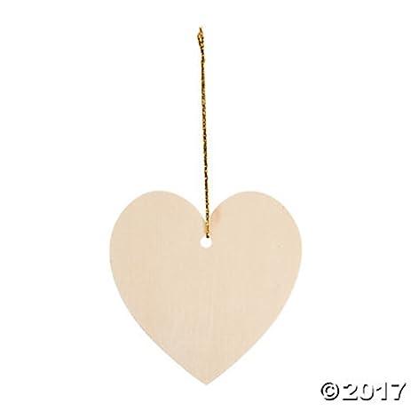 amazon com set of 12 diy unfinished wood heart ornaments 4 craft