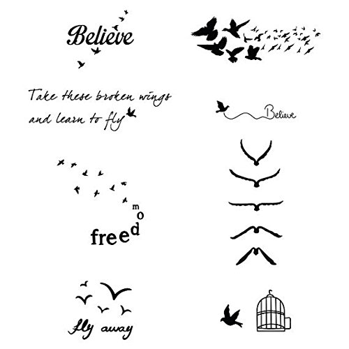 Tattify Assorted Bird Themed Temporary Tattoos - Fowl Play (Set of 16 Tattoos - 2 of each Style) - Individual Styles Available and Fashionable Temporary Tattoos