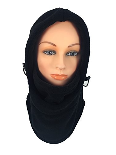 Black Polar Fleece Liner (Novasport Women's Balaclava Hooded Face Mask Fleece (Black))