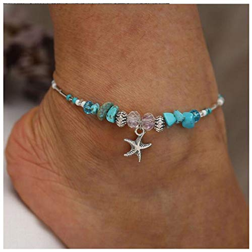 Eternal-Z Bohemian Starfish Turquoise Anklet Bracelet Fashion Rhinestone Beads Foot Chain Barefoot Sandal Adjustable Joker Jewelry for Women and -