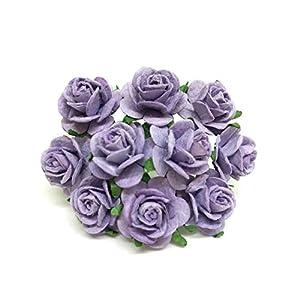 2cm Purple Lavender Paper Flowers Paper Rose Artificial Flowers Fake Flowers Artificial Roses Paper Craft Flowers Paper Rose Flower Mulberry Paper Flowers, 25 Pieces 56