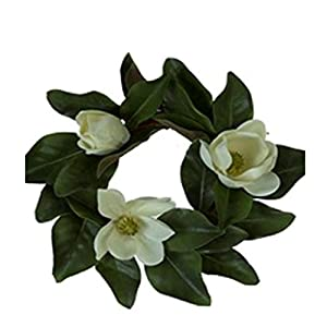 JMB Magnolia Flower and Leaf Candle Ring or Small Wreath (16 in) 29