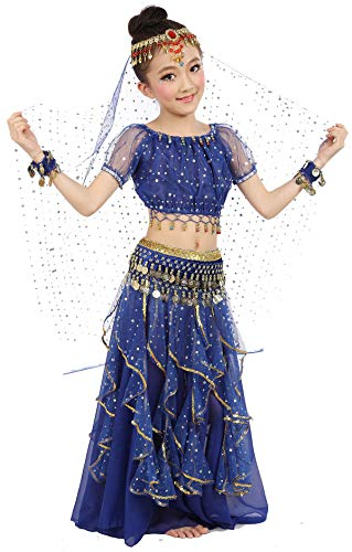 Girls Belly Dance Top Skirt Set Halloween Costume with Head Veil,Waist Chain,Dark Blue,S(Height: 39.5in-49.2in) ()
