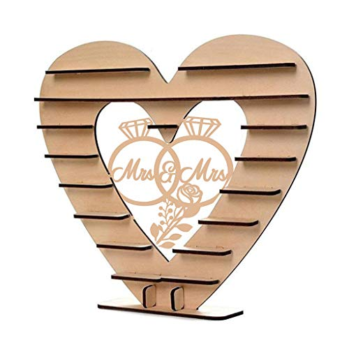 liumiKK Mr&Mrs Diamond Ring Pattern Wooden Ornaments Chocolate Stand Candy Cupcake Display Desserts Holder Home Decor Wedding Party Bars (Ring Holder Ornament)