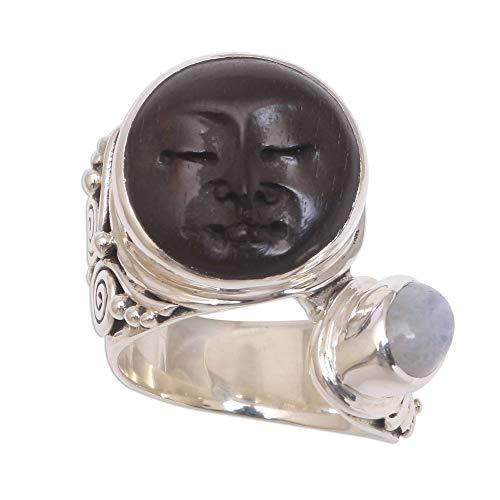 NOVICA Rainbow Moonstone .925 Sterling Silver Cow Bone Ring, Night Face'