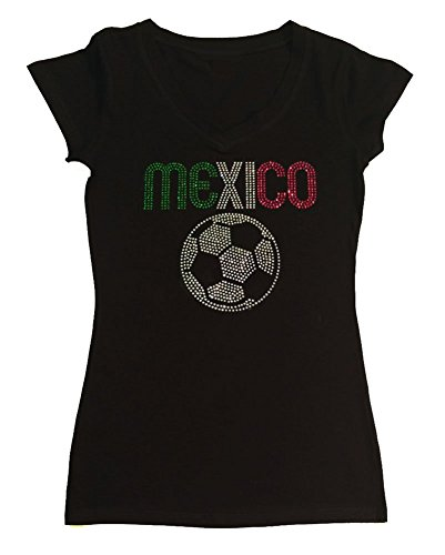 Womens Fashion T-shirt with Mexico with Soccer Ball in Rhinestones (3X, Black Cap Sleeve) (Mexico T-shirt Womens Sleeve Cap)