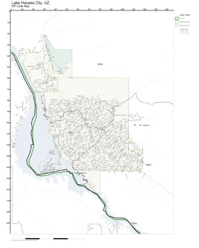 Amazoncom ZIP Code Wall Map of Lake Havasu City AZ ZIP Code Map