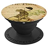 Frog On A Bike French Postcard Art Vintage Retro Cool Gift - PopSockets Grip and Stand for Phones and Tablets