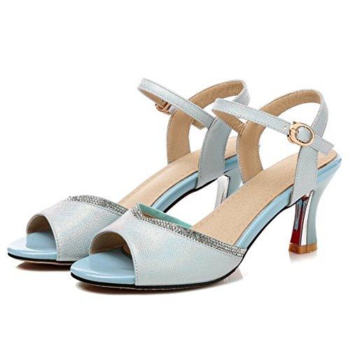 Blue Women Sandals Elegant Buckle Heels TAOFFEN 8ZvqU