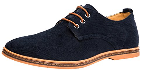 Men Casual Oxford Shoes Corduroy Lace Up Footwear Deep Blue US 10.5