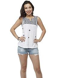 Aditivo Blusa Blanca sin Mangas, para Mujer con Dibujo de mosaicos, Cuello en V
