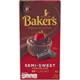 Baker's Premium Baking Chocolate Bar, Semi-Sweet 56% Cacao, 4 oz Box