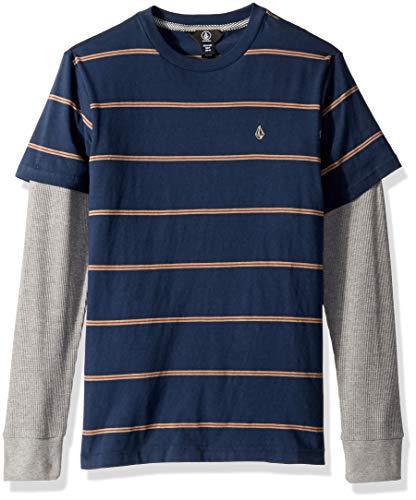 Volcom Big Boys' Joben Two Fer Long Sleeve Polo Shirt, MELINDIGO Large
