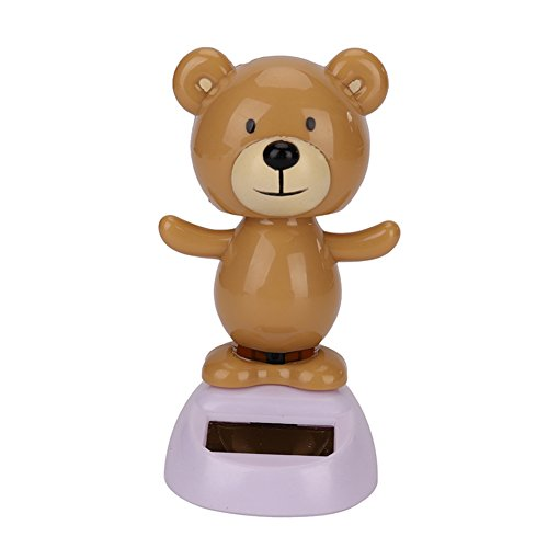 Solar Powered Bobble Head Toy, Owl Bear Dancing Animal Swinging Animated Bobble Dancer Toy Perfect for Car Home Decor (BEAR - Brown) ()