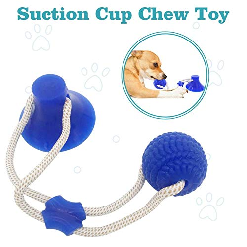 Demlor Pets Multifunction Pet Molar Bite Toy, Durable Dog Tug Rope Ball Toy with Suction Cup, Tugging, Pulling, Chewing, Playing. (Blue)
