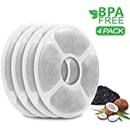 MOSPRO Carbon Replacement Filters Pet Fountain - 4 Packs Automatic Flower Water Dispenser Compatible Cats Dogs