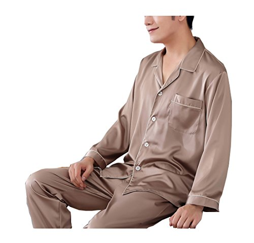 Pajama Trousers (Respeedime Autumn Home Service Silk Pajamas Summer Men 's Long Sleeved Trousers Sets Sleepwear Khaki Size XL)
