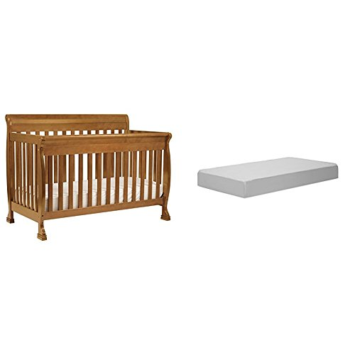 Kalani 4-In-1 Convertible Crib with Complete Toddler Mattress with Hypoallergenic Waterproof Cover - Oak Baby Cribs