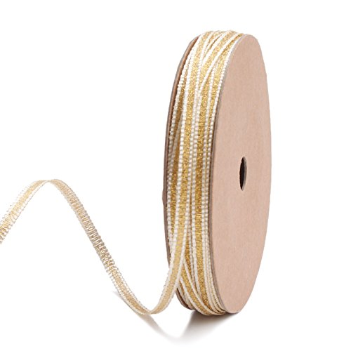 LaRibbons 4mm Wide Gold and White Striped Metallic Ribbon for Decoration, Craft, Gift Wrappping - 10 Yard/Spool ()