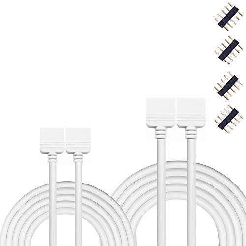 Kabenjee 2X 2m RGBW 5pin Color Changing Flex LED Strip Light Extension Cable Connector,5pin RGBWW LED Tape Solderless Adaptor Connector Cable for 5-strand 10mm/12mm Osram RGBW Strips(2pcs/Pack)