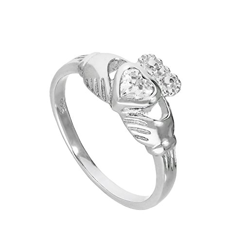 Sterling Silver & Clear CZ Crystal April Birthstone Claddagh Ring Size U...