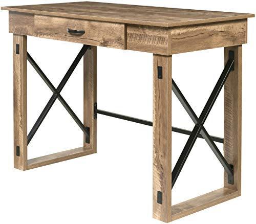 OneSpace Martin Standing Desk with Drawer, Classic Oak (Small Rustic Desk)