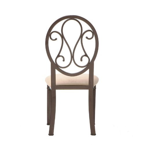 5 pcs Casual Dining Table and Chairs Set Dark Brown Metal Tube Frame