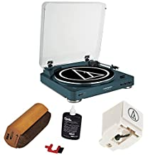 Audio-Technica Fully Automatic Wireless Belt-Drive Stereo Turntable - Navy (AT-LP60NV-BT)with RCA D4+ Vinyl Record Cleaning Fluid System & Replacement Stylus for AT-LP60 & AT-LP60USB Models