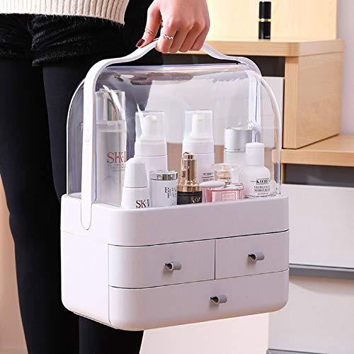 m·kvfa Dust-Proof Desktop Drawer Dresser Rack Portable Cosmetic Storage Box Large Capacity Portable Makeup Case Organiser for Bathroom Bedroom Dressing Table (2-Tier Gray)
