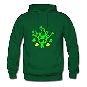 Monahun Green Customized Diatinguish Cool Kiss Me I'm Irish Girl Shamrock St.pattys Day Hoodies/women X-large
