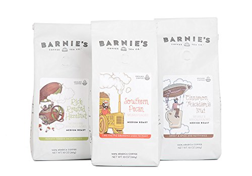 Barnie's Nutty Ground Coffee Trio | Southern Pecan, Cinnamon Macadamia Nut, Rich Roasted Hazelnut | Sugar Free, Gluten Free, Fat Free | Medium Roasted Arabica Coffee Beans