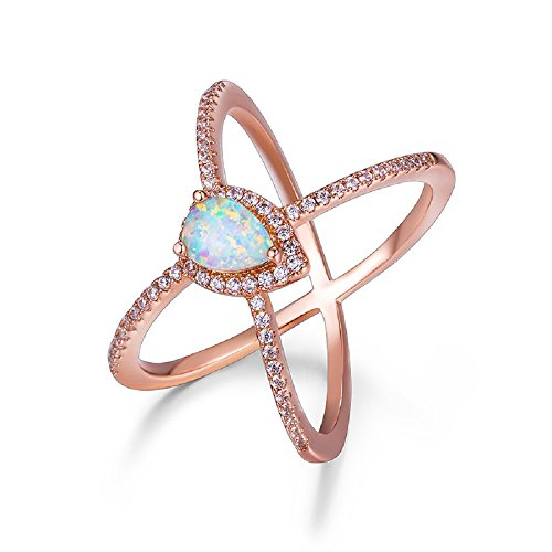 OPALBEST Criss Cross Rose Gold Plated Ring with White Pear Shaped Opal Ring (6) (White Cross Pear)