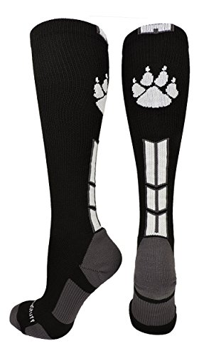 Black Over Print (Wild Paw Over the Calf Socks (Black/White/Graphite, Small))