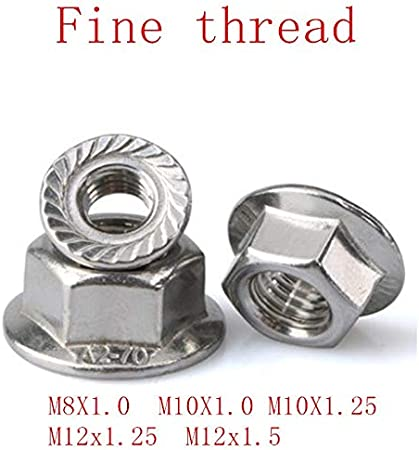 10pcs Yinxinhui 5-10pcs DIN6923 M8x1.0 M10x1.0 m10x1.25 M12x1.25 M12x1.5 fine thread Flanged Hex Nut Flange Nuts Size : M8 x 1.0