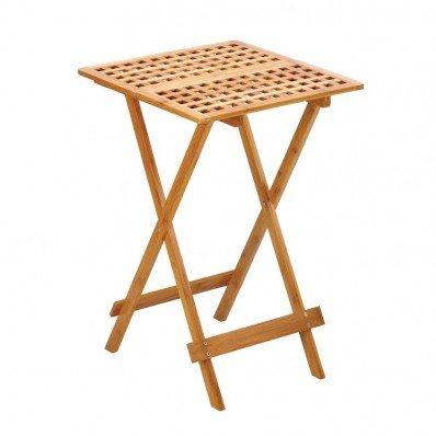 Bamboo Wood Geometric Cutout Design Portable Folding Tray Table