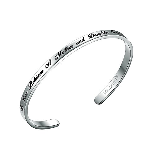 SOLOCUTE Sterling Silver Cuff Bangle Bracelet Engraved