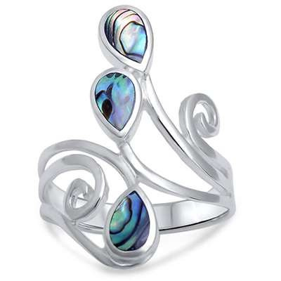 Abalone Shell .925 Sterling Silver Ring Sizes 5-12 (12)