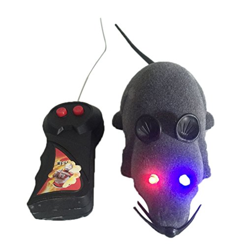 Lanlan 1 PCS LED Light Remote Control Mouse Simulation Flocking Mice RC Animal Toys Pet Supplies Cat Trick Toy Hunting Game Accessories Joke Prank Toy Grey (Dragonfly Remote Control Toy)