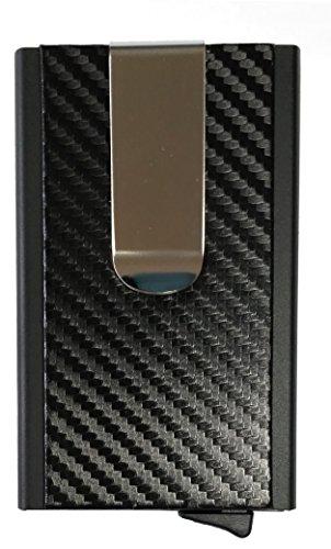 Credit Card Holder Automatic Pop-Up Aluminum Wallet, RFID Blocker & Money Clip (Black+ Carbon)