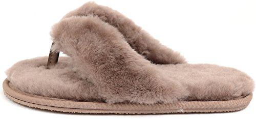 Damer Lyxiga Fårskinn Flip Flop Tofflor / Sandal / Rem Toffel Av Bushga Mink