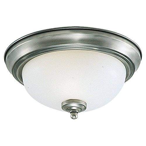 Sea Gull Lighting 77063-962 Single-Light Close-to-Ceiling Fixture, Satin Etched Glass and Brushed Nickel