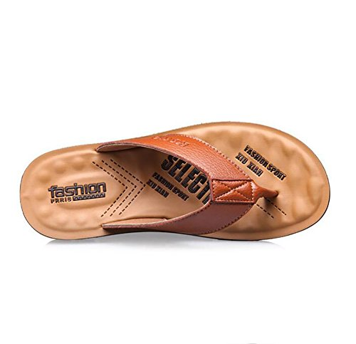 Sandali Spiaggia Outdoor Khaki Brown 44 amp; Comodo Estate Infradito Uomo Pantofole Pelle Indoor qA4CO