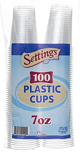 Settings 7oz Clear Plastic Disposable Cups 100 Count (3 Pack) (Spill 7 Ounce Cup)