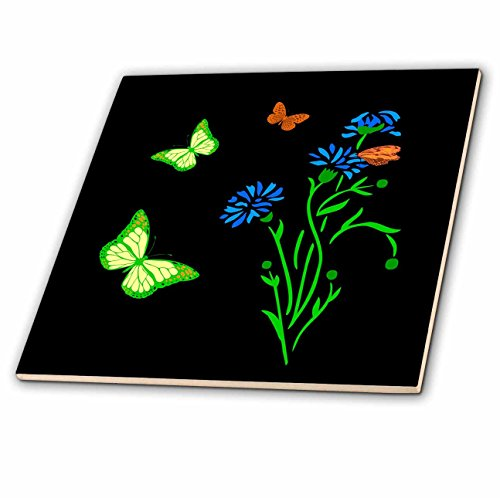3dRose Alexis Design - Butterfly - Images of blue cornflowers and yellow and brown butterflies on black - 6 Inch Glass Tile (ct_276029_6) Cornflower Color Tray