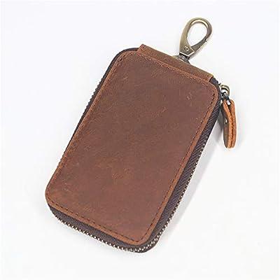 Genuine Leather Smart Car Key Holder Wallet Organizer Housekeeper Covers Case