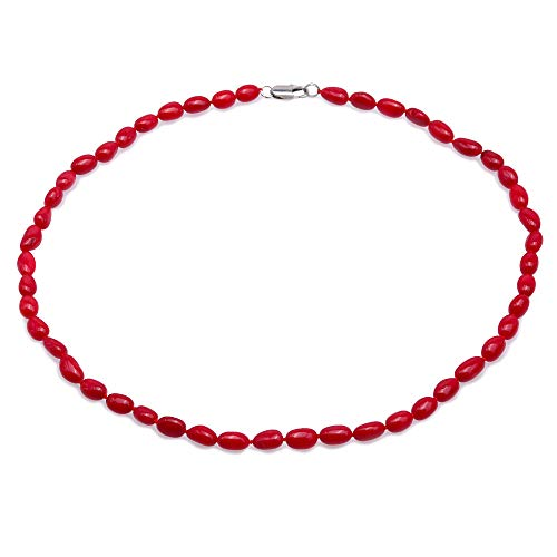 JYX Coral Necklace 6.5×10.5mm Red Coral Beads Single-strand Necklace 20
