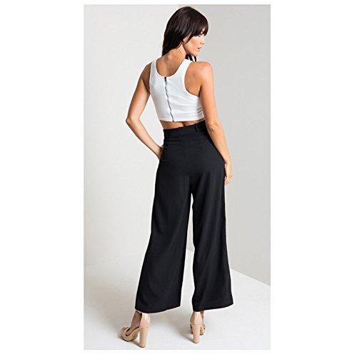 Oudan Verano Anchos Gran Con Cinturón Tamaño Flúidos De Negro Pantalones Chic Mujer Elegantes Para rwUqra7