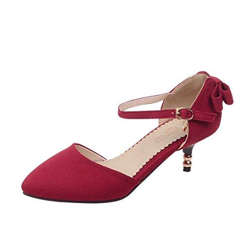 Carolbar Women's Elegant Charm Bow Stiletto Buckle Pointed Toe Dress Shoes Red QIiCW