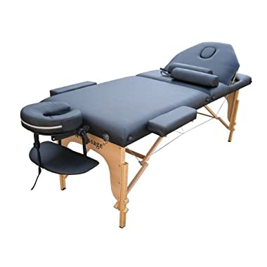 Black PU Reiki Portable Massage Table Carry Case w/Free Two Bolster Pillow