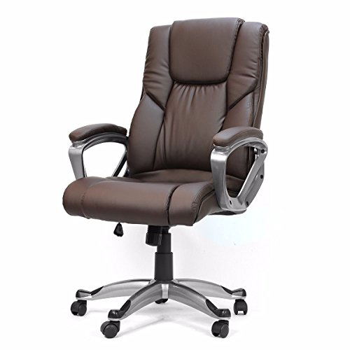 (ZotoyaShop Office Home Chair Brown PU Leather boss High Executive Luxury Computer Desk)